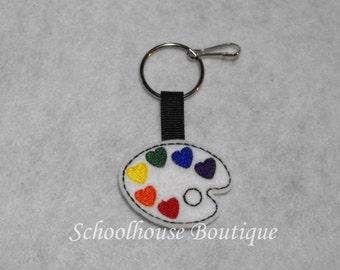 Paint Palette Felt Zipper Pull, Felt Keychain Fob, Felt Key Ring, Felt Key Fob, Purse Accessory, Luggage Tag