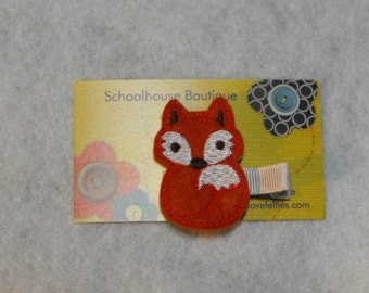 Red Fox Felt Hair Clips, Feltie Hair Clip, felt clippie, felt hair bow, felt hair clip, party favor
