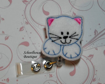 White Kitty Cat felt badge reel, name badge holder, nurse badge, ID holder, badge reel, retractable badge clip, feltie badge reel