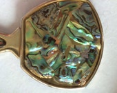 Abalone shell  hand held purse mirror, ladies , purse accessories, metal , mirror , shell, vintage