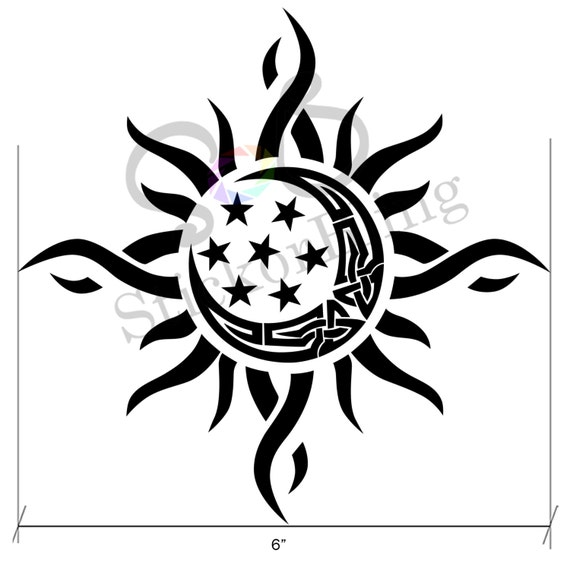 items similar to sun moon star tribal 6 u0026quot  die cut vinyl