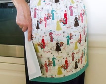 Retro Half Apron green, women's 50's fashion apron, lined cotton kitchen hostess BBQ half apron/pinny, Mum apron gift, vintage 50's dresses