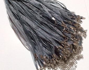 10 pcs Grey Organza Ribbon Waxed Cotton Cord Necklace,Grey waxed cord necklace,waxed cord,grey ribbon necklace,grey waxed cord