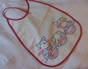 Darling vintage Three Little Pigs embroidered bib