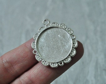 8pcs 25mm Pad Silver Plated Round Cameo Cabochon Base Setting Round Pad Lace Flower Pattern PP931