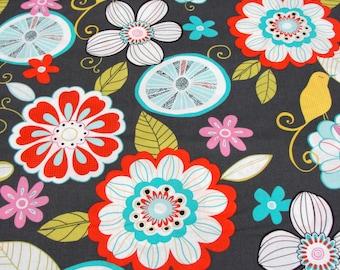 Patchwork Quilting Fabric Michael Miller Tweet Birdie Dk Grey