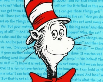 24 x 44 inch Panel Patchwork Quilting Fabric Robert Kaufman - ADE-11941-203 - Dr Seuss - Cat in the Hat