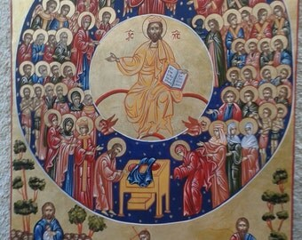 byzantine home decor.byzantine.ICONS.the all Sants-Agioi Pantes,religious icons. greek art. made in greece. orthodox byzantine icon