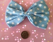 Large baby blu and white polka dot hair bow