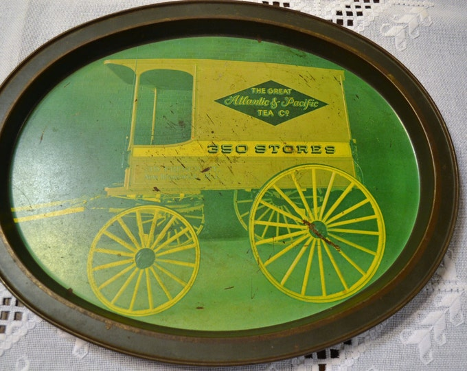 Vintage Metal Serving Tray Atlantic Pacific Tea Co Little Red School House PanchosPorch