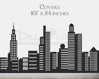 City Skyline Decal - City Buildings Skyline - Vinyl Wall Decal Sticker- 107 by 54 inches - Customized