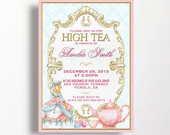 Marie Antoinette High Tea Invitation French Tea Party For Bridal Shower or Birthday