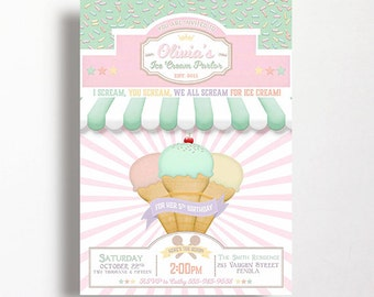 Ice Cream Party Invitation Ice Cream Party Parlor Parlour Printable Pink Mint Ice Cream Social Pastel Girls Birthday 1st 2nd 3rd 4th 5th