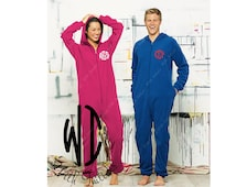 Monogram Adult Onesie Fleece Pajama - Personalized Fleece Lounger  - Bridesmaid Gift - Bachelorette party