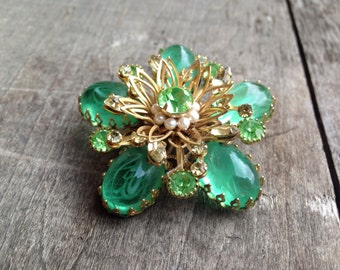 Vintage large Green Rhinestone Brooch Pin