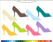 50 Clip Art fashion shoes, Heel Digital illustrations in 50 rainbow colors PNG, clipart, image Commercial Use. High heel shoe graphic