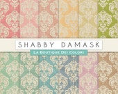 Damask Digital paper, Shabby damask paper. vintage grungy backgrounds. Download, printable, Commercial Use pink, red, green, blue