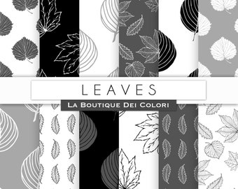 Black and white leaves digital paper. Nature, forest, leaf backgrounds patterns leaves scrapbook paper for commercial use clipart