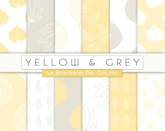 Yellow and Gray leaves digital paper. Nature, forest, leaf backgrounds patterns leaves scrapbook paper for commercial use clipart