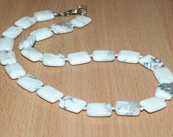 Cacholong beads rectangular. White opal beads.