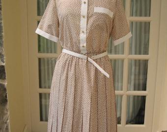 Vintage 1980s Summer Dress Size 14 M & S Beige