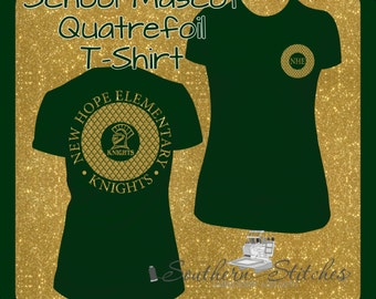 Adult Quatrefoil Two Side School Mascot Shirt