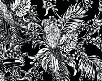 One Yard Buried Treasure - Tropical Birds in Black - Cotton Quilt Fabric - by Kanvas - Benartex Fabrics - 5389-12 (W2581)