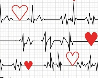 Calling All Nurses - Heart Beat EKG in White - Cotton Quilt Fabric - Whistler Studios for Windham Fabrics 37302-2 (W450)