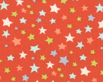 One Yard Bartholo-meow's Reef - Star Gathering in Coral Orange - Cotton Quilt Fabric - from Tim and Beck for Moda - 39533-13 (W2805)