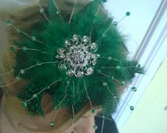 Emerald green and black fascinator