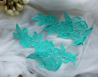 Aqua Blue Flower, Bridal Applique Lace, Wedding Garter Applique, Lace Applique One Pair
