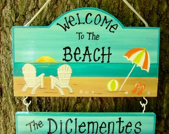 Custom Welcome to the Beach Summer Home Camp Campsite Camping Sign  with your name!  Custom Colors Sunset with your Name Personalized