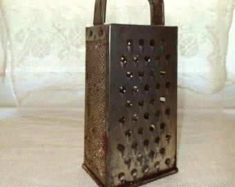 Metal 4 Sided Grater-Slicer- Retro Hand Grater-Vintage Kitchenwares-Country Chic-Collectible Utensils-Classic Old Kitchen Tool-Crafts