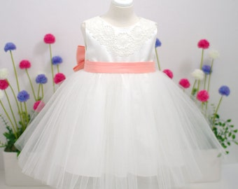 White Tulle Baby Dress with salmon pink ribbon - flower girl - 1st birthday party