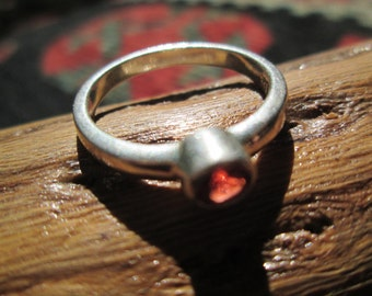 Vintage Garnet and Sterling Silver Stacking Ring Size 6.25