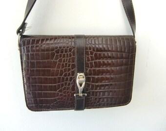 French vintage faux lizard  shoulder bag  handbag dark brown leather bag