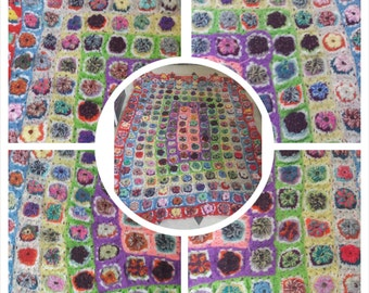 5f x 7f  flower puff crochet blanket