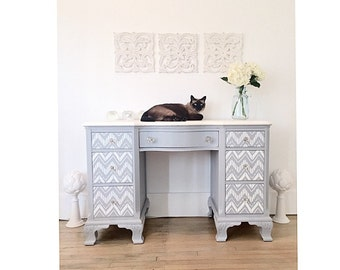 SOLD Order Custom Chic and Playful Grey Desk