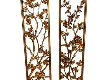 Syroco Oriental Flower Wall Plaques over 3 Feet Tall c1955