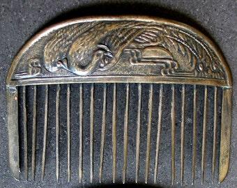 Vintage Antique Chinese Comb Crane Bird Metal