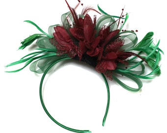 Emerald Green & Burgundy Wine Red Fascinator on Headband