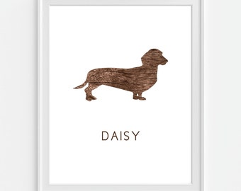 Dog Art Print, Dachshund Breed, Weiner Dog, Personalized Dog Print, Pet Art 5x7, 8X10, 11x14 Faux Wood 'Look', Wall Decor, Pet Print