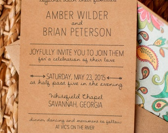 Rustic hand lettered Photoshop template wedding invitation, barn wedding, woodland wedding