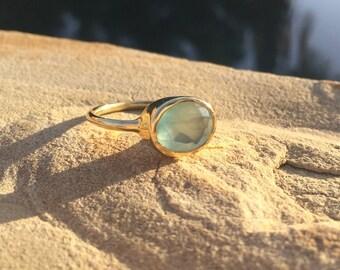 Aqua Chalcedony Ring, SALE!! 25 % OFF Aqua Chalcedony Faceted Stackable Ring, Aqua Oval Gold Ring, Aqua Chacedony Oval Gold Ring