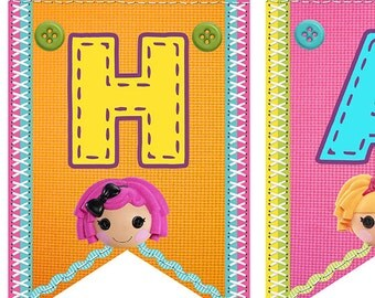 Lalaloopsy Banner, Buntings, Printable File, INSTANT DOWNLOAD