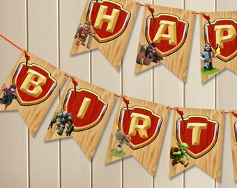 Clash of Clans Banner, Instant Download Bunting, Printable File