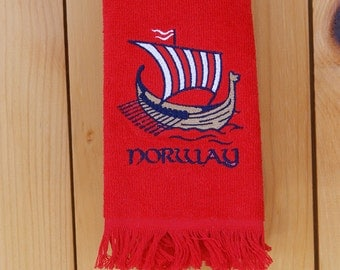 Scandinavian Norway Viking Ship Embroidered Towel (#7)
