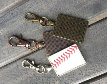 Rectangle keychain with real baseball leather and stitches