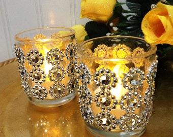 Wedding Votives - Bling Wedding Decor - Glass Candle Holders - Wedding Candles - Glass Votive Holder - Sparkle Candle - Wedding Gift