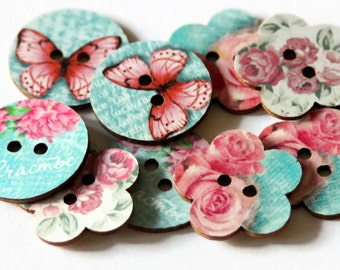 10 Flower Print Buttons - Large Wooden Buttons - 25mm - Flower Shape Buttons - Vintage Style Buttons - Butterfly Print Sewing Button - PW118